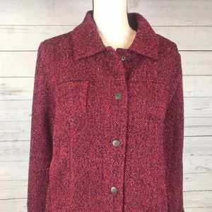 J Jill Women's Tweed Blazer Size L Red Snap Front